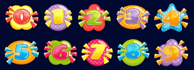 Cartoon numbers. funny chubby number, child birthday card colored years and number in colorful frame  illustration set Premium Vector