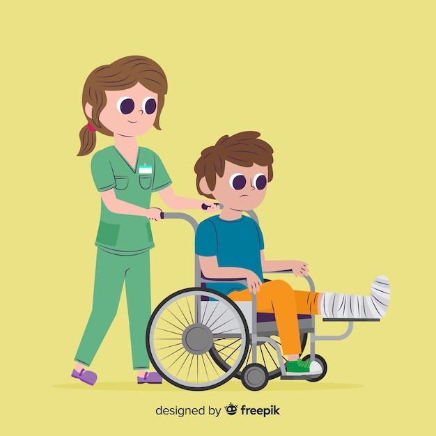 Cartoon nurse taking care of patient Free Vector