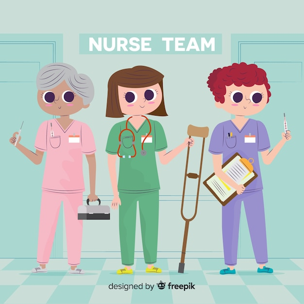 Cartoon nurse team background Free Vector