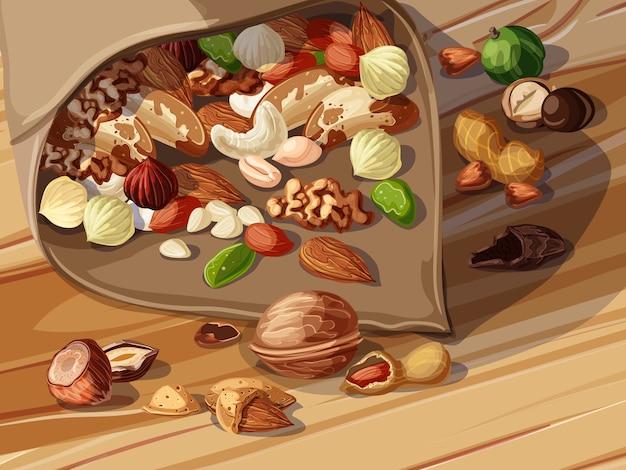 Шаблон мультяшных орехов Premium векторы