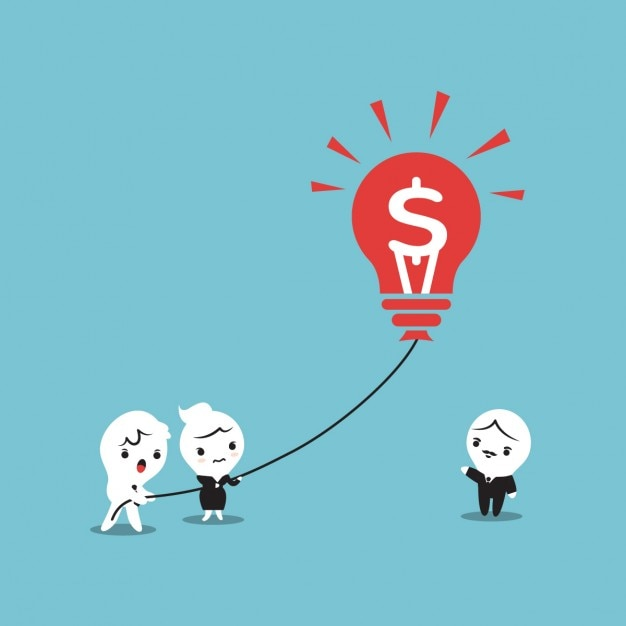 Cartoon of a business people holding a light\ bulb