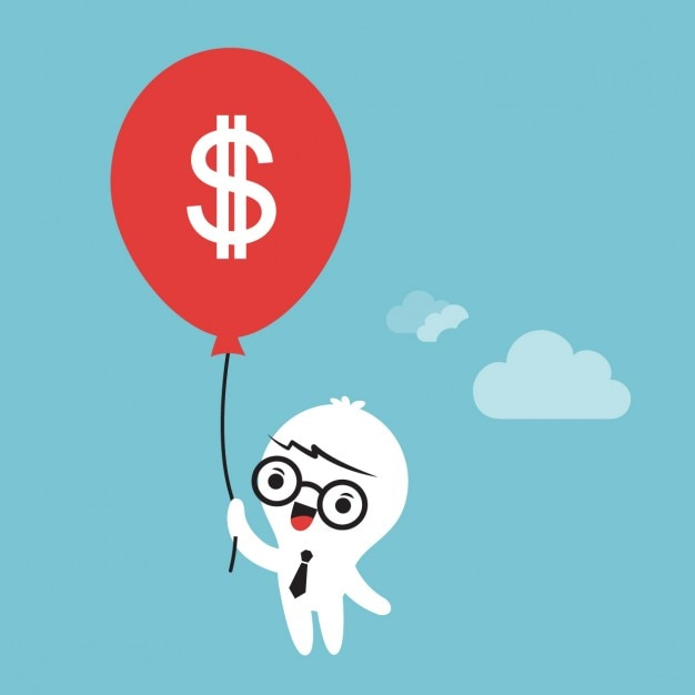Cartoon of a businessman holding a money\ balloon