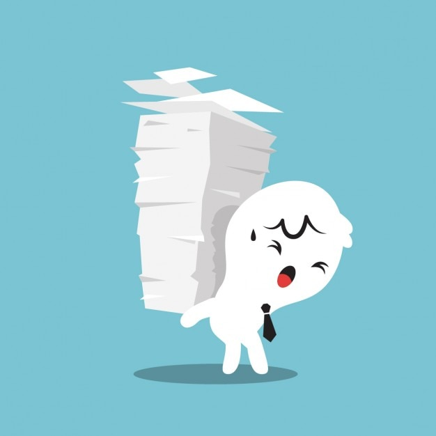 Cartoon of a businessman with a pile of\ papers