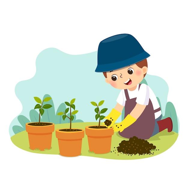 Мультфильм маленький мальчик занимается садоводством. дети делают работу по дому дома концепции Premium векторы