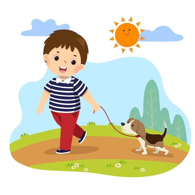 자연에서 야외 산책을 위해 그의 개를 복용하는 어린 소년의 만화. 집 개념에서 집안일 집안일을하는 아이 프리미엄 벡터