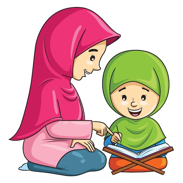 Мультфильм мусульманской девочки, которая учится читать коран со своей матерью Premium векторы