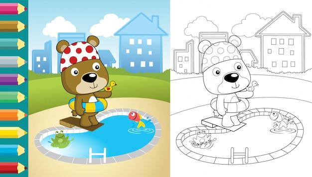 Мультфильм медведь в бассейне на фоне здания Premium векторы
