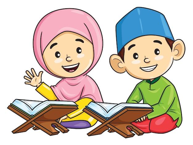 Мультфильм мальчика и девочки муслима читает коран Premium векторы