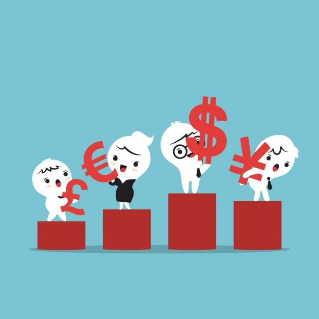 Cartoon of business people on a podium