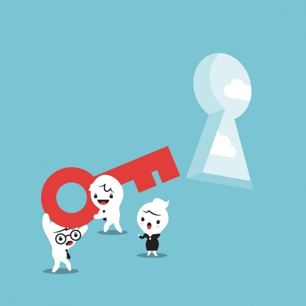 Cartoon of business people with a key Free Vector