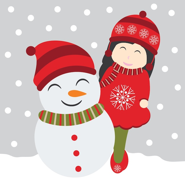 pictures of cute girls of and snowman on snow fall background 29769