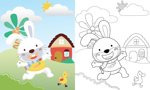 風景ビューの背景にアヒルの子を追いかけるかわいいウサギの漫画 Premiumベクター