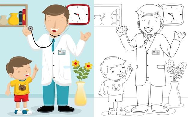 病室で男の子と医者の漫画 Premiumベクター