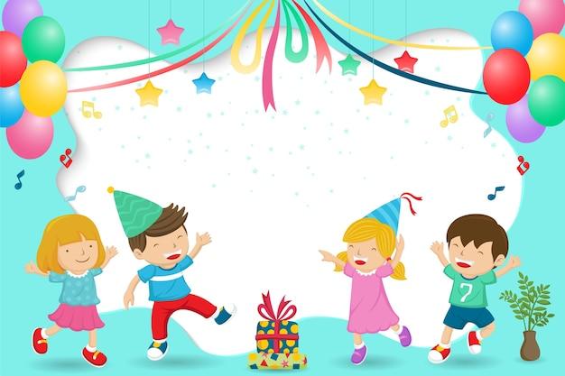 パーティーを祝っている子供たちの幸せなグループの漫画 Premiumベクター