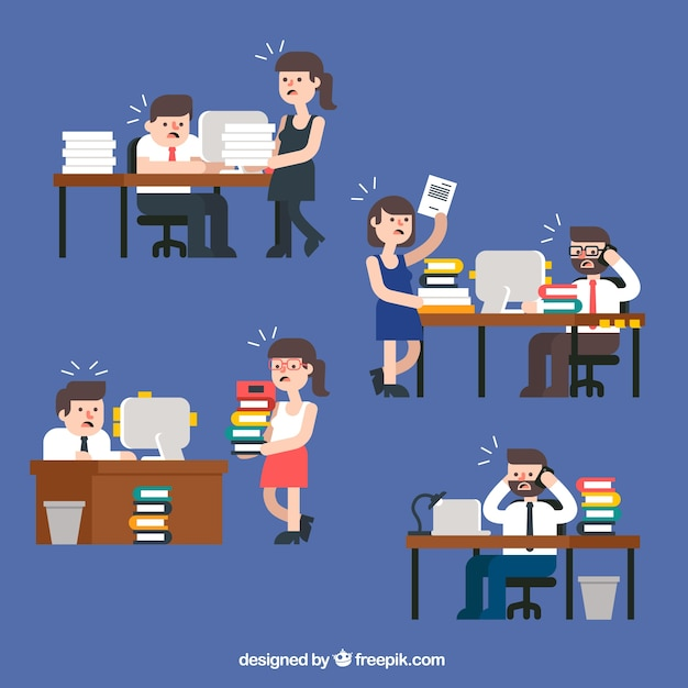 cartoon office desktops vector free download