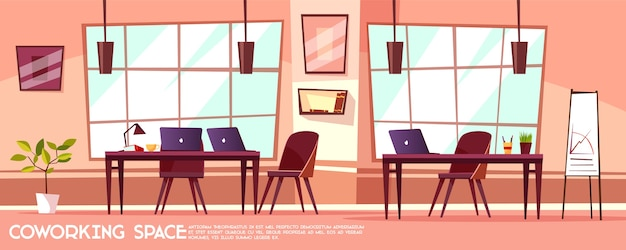 Cartoon office room, coworking with workplaces, desks, big windows. Free Vector