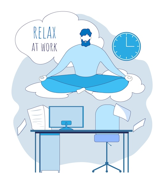 Cartoon office worker meditate above workplace illustration. relax at work Premium Vector