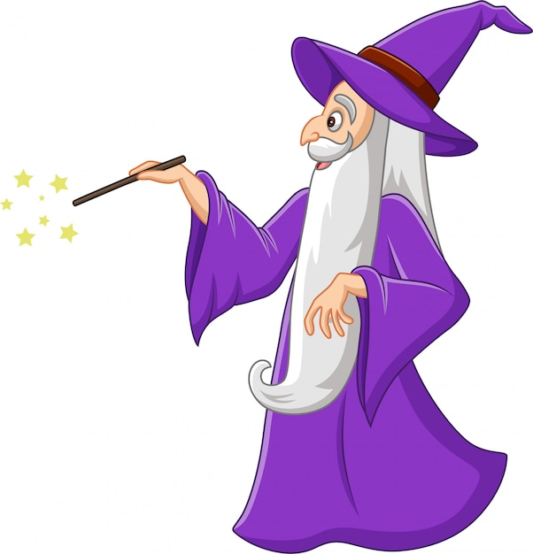 Cartoon old wizard with magic wand Premium Vector