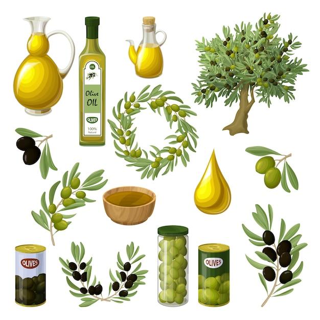 Набор элементов мультфильм оливковое масло Бесплатные векторы