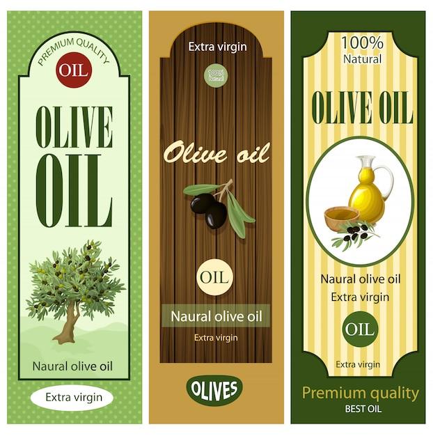 Cartoon olive oil labels set Free Vector