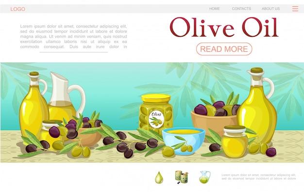 Мультяшный шаблон веб-страницы с оливковым маслом с мисками, горшочками и бутылками с оливковыми ветвями и банкой с органическим маслом Бесплатные векторы