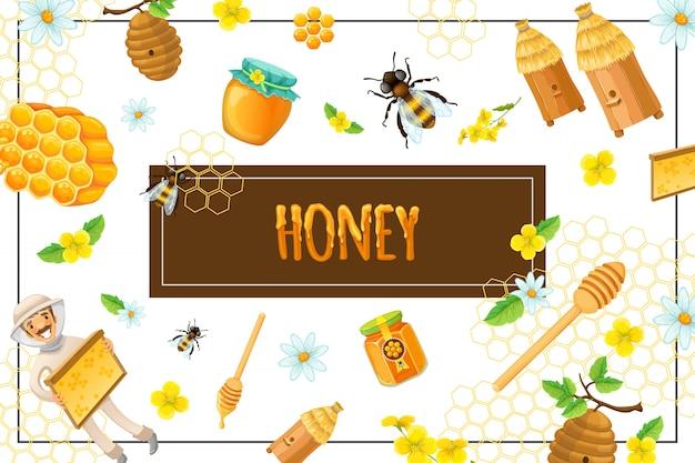 Cartoon composizione di miele organico con nido d'ape fiori api alveari bastone apicoltore pentola e vaso di prodotti dolci nel telaio Vettore gratuito
