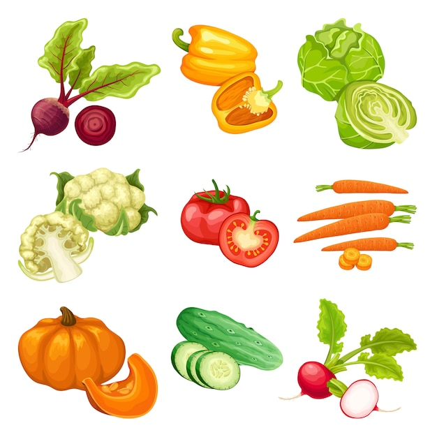 Cartoon organic vegetables set Free Vector
