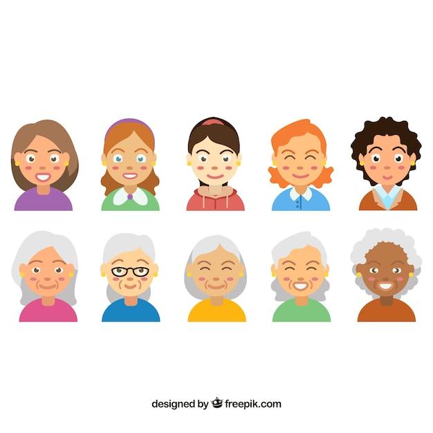 Cartoon pack of female avatars