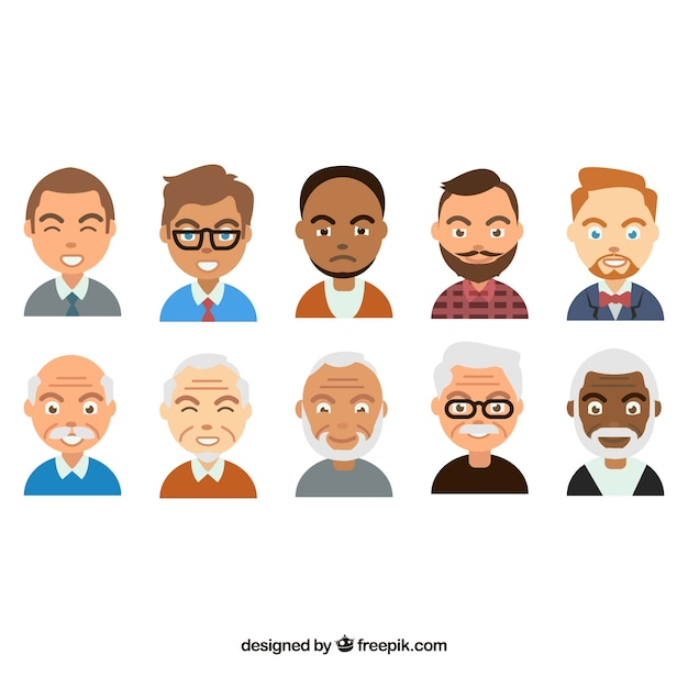 Cartoon pack of male avatars