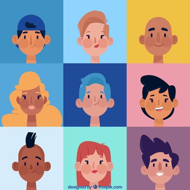 Cartoon pack of smiely avatars
