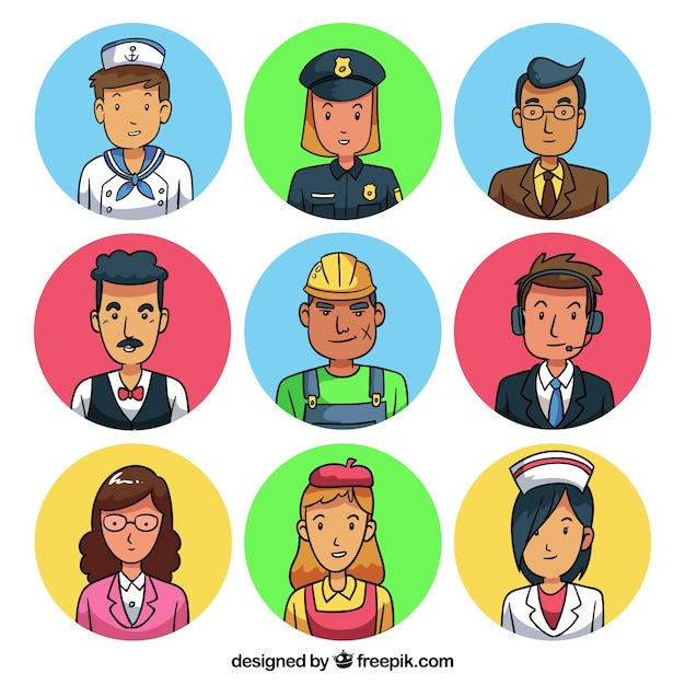 Cartoon pack of workers avatars
