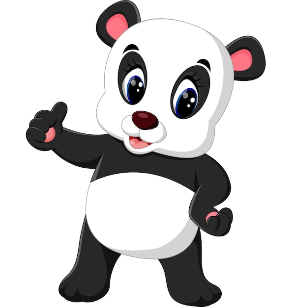 Cartoon Panda Presenting Vector Premium Download