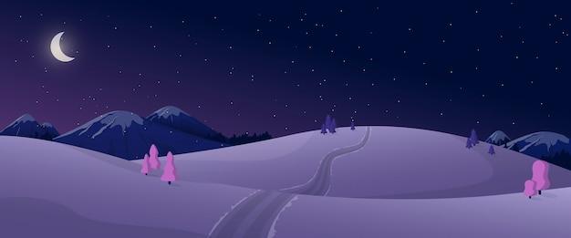 黒と紫の色で冬の夜の自然の漫画のパノラマビュー。 Premiumベクター