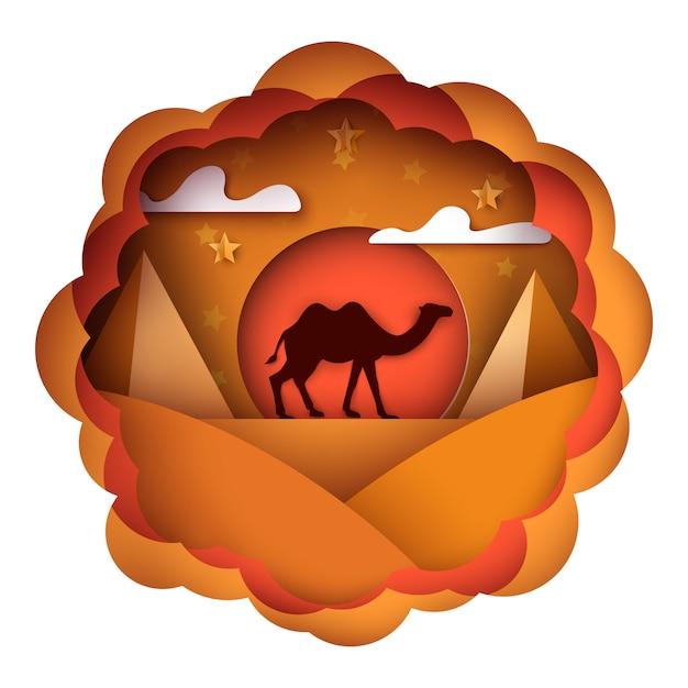 Cartoon paper landscape. camel illustration. Premium Vector
