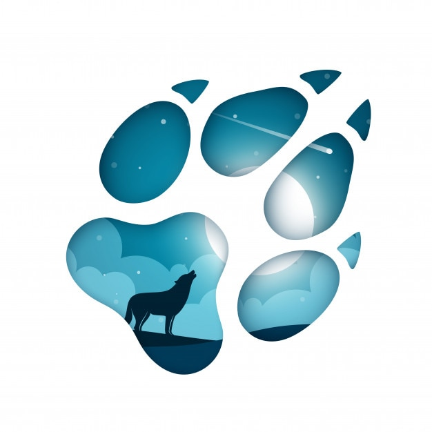 Cartoon Paper Landscape With A Wolf Footprint Vector Premium Download