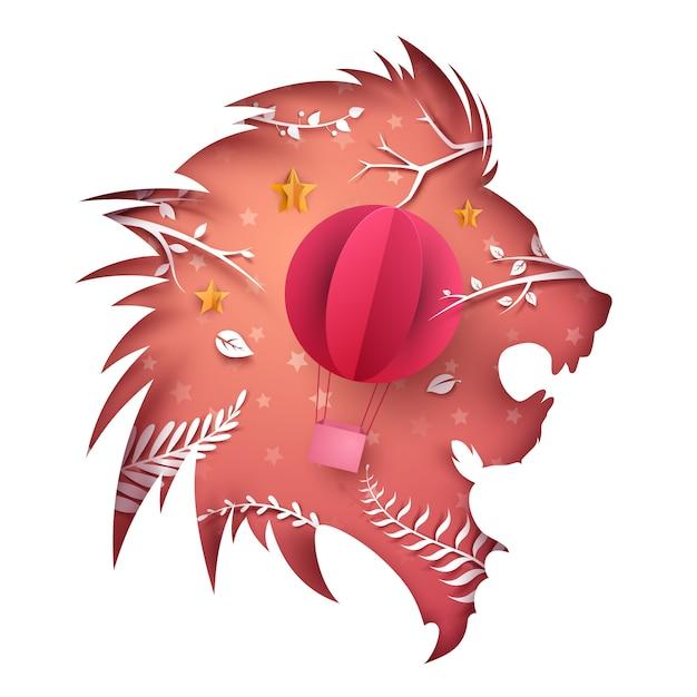Cartoon paper lion Premium Vector