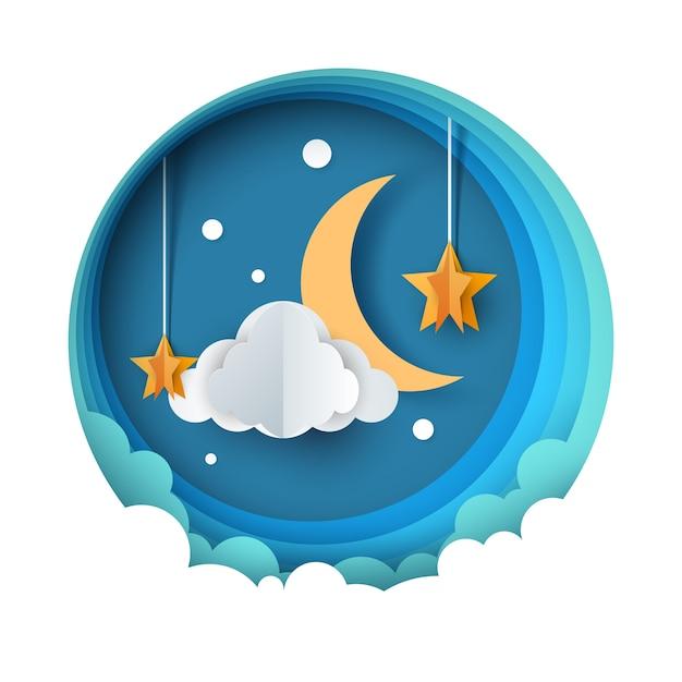 Cartoon paper night landscape. moon, star, cloud road Premium Vector