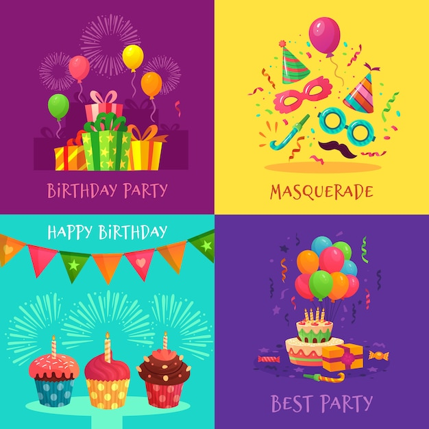 Cartoon party invitation cards. celebration carnival masks, birthday party decorations and colourful cupcakes  illustration set Premium Vector