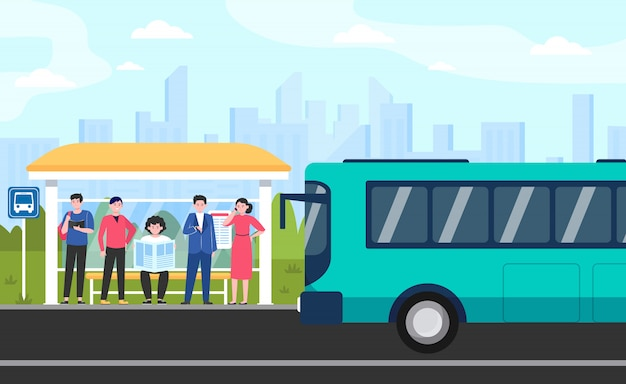 Cartoon passengers standing at bus stop Free Vector