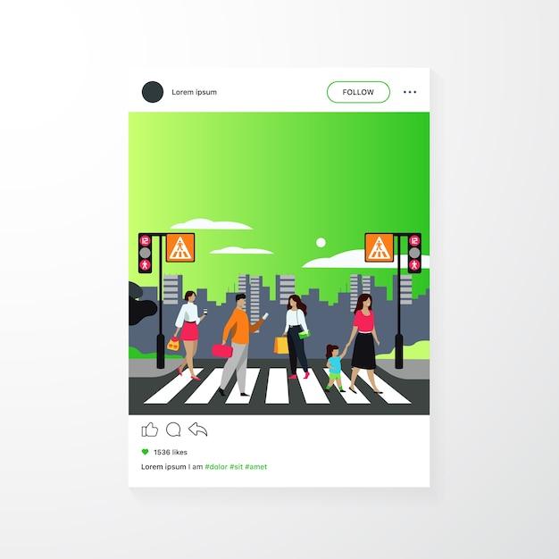 Pedoni del fumetto che camminano attraverso l'illustrazione piana di vettore isolata attraversamento pedonale. le persone che attraversano la strada del viale Vettore gratuito
