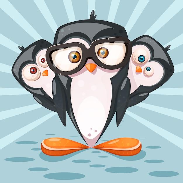 Cartoon penguin characters Premium Vector