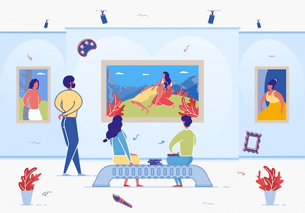 Cartoon people in art gallery museum enjoy artwork Premium Vector