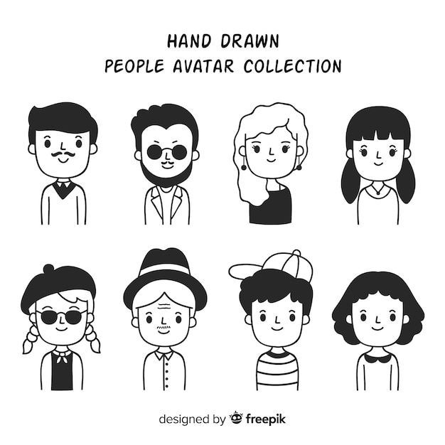 Cartoon people avatar collection Free Vector