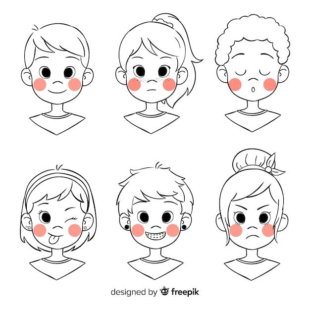 Cartoon people avatar pack Free Vector