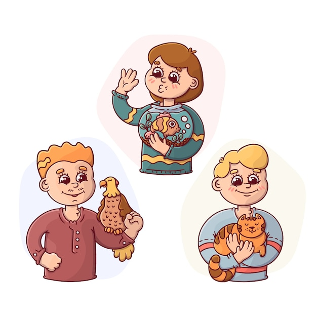 Cartoon people avatars holding their pets collection Free Vector