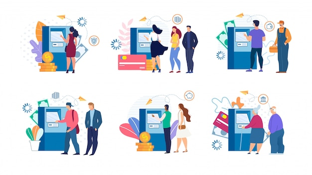 Cartoon people and cashing money at atm set Premium Vector