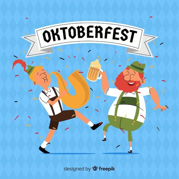 Cartoon people celebrating oktoberfest Free Vector
