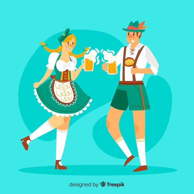 Cartoon people celebrating oktoberfest Free Vector
