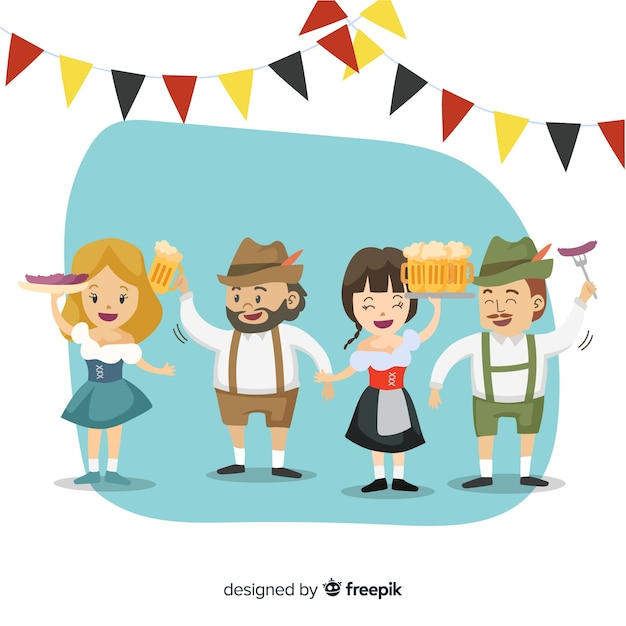 Free Vector Cartoon People Celebrating Oktoberfest
