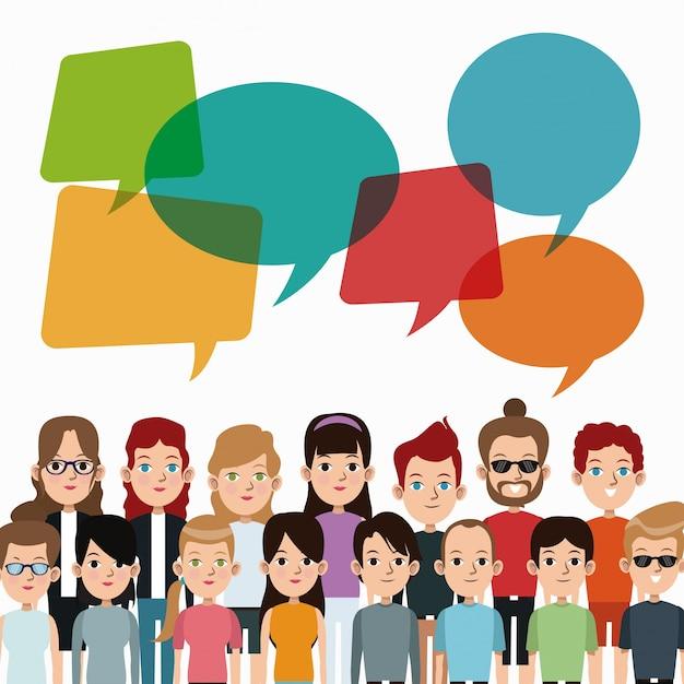 Cartoon people community talking communication bubble